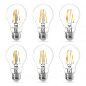 6 Pack 7W E27 Vintage LED Bulbs, Warm White, Filament Bulb, 60W Incandescent Equivalent