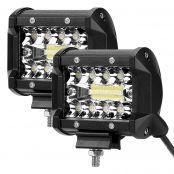 2PCS 4 inches LED Work Light Bar, 120W Flood Spot Combo Beam Driving Fog Light 4800lm Off Road Driving Light IP68 6000K for Truck Car ATV SUV Jeep