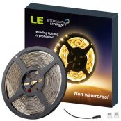 LE 5M LED Strip Lights 300 Units SMD 2835 12V Low-Voltage Striplight Non-Waterproof Tape Warm White Ribbon Lighting for Home Room Kitchen Cabinet TV Backlight and More