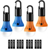 LE Camping Lantern, Battery Powered Camping Light, Portable LED Light Bulb for Tent, 3 Lighting Modes, Suit for Camping, Hiking, Fishing, Power Cuts, Battery Included, Pack of 4