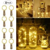 LE Bottle Lights with Cork, 8 Pack 2M 20 LED, Battery Powered, Fairy Table Centrepiece for Wedding, Party, Christmas, Room Decor and More, Cu, Warm White