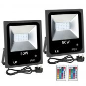 LE 50W RGB Flood Light, Colour Changing LED Garden Light with Remote Control, Dimmable Outdoor Lighting, Waterproof 16 Colours and 4 Modes Floodlight with UK Plug, Pack of 2