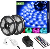 LE LED Strips Lights 10M, RGB Colour Changing Lighting Strip with Remote and Power Plug, 5050 LEDs Tape for Bedroom, Kitchen, Party Decoration and More [Energy Class A+]