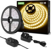 Lepro 10M LED Strip Lights Kit, Dimmable, Soft Warm White 2700K, Plug and Play LED Tape for Bedroom, Kitchen Cabinet, Mirror and More, 24V Power Supply and Dimmer Switch Included