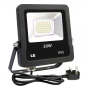 20W Plug in LED Floodlight, Daylight White 5000K, 1600 Lumen Outdoor Security Light, Replace 200W Halogen Light, IP65 Waterproof Garden Light for Garage, Hotel, Yard and More