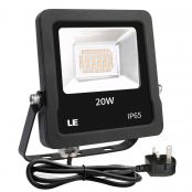 20W Plug in LED Floodlight, Warm White 3000K, 1600 Lumen Outdoor Security Light, Replace 200W Halogen Light, IP65 Waterproof Garden Light for Garage, Hotel, Yard and More