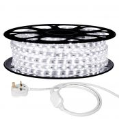 15M LED Strip Light, 220V-240V LED Tape Light, Super Bright 3528 SMD LEDs, Daylight White, IP65 Waterproof Outdoor Decorative Lighting Strings