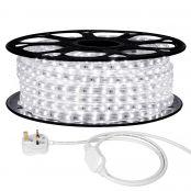 20M LED Strip Light, 220V-240V LED Tape Light, Super Bright 3528 SMD LEDs, Daylight White, IP65 Waterproof Outdoor Decorative Lighting Strings