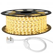 25M LED Strip Light, 220V-240V LED Tape Light, Super Bright 3528 SMD LEDs, Warm White, IP65 Waterproof Outdoor Decorative Lighting Strings