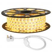 15M LED Strip Light, 220V-240V LED Tape Light, Super Bright 5050 SMD LEDs, Warm White, IP65 Waterproof Outdoor Decorative Lighting Strings