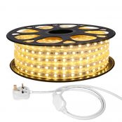 20M LED Strip Light, 220V-240V LED Tape Light, Super Bright 5050 SMD LEDs, Warm White, IP65 Waterproof Outdoor Decorative Lighting Strings