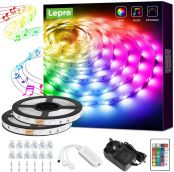 Lepro 10M Music Sync LED Strip Lights, Sensitive Built-in Mic, Colour Changing & Dimmable with Remote, 5050 RGB LED Lights for Bedroom, Party Decoration (2x5M, Stick-on, Plug-n-Play)