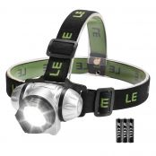 LE COB LED Headlamp, Lightweight and Comfortable, 140 Lumen, 4 Brightness Modes, IP44, Battery Powered Head Torch for Camping Running Hiking Reading, AAA Batteries Included