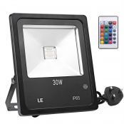 LE 30W RGB Flood Light, Colour Changing LED Garden Light with Remote Control, Dimmable Outdoor Lighting, Waterproof 16 Colours and 4 Modes Floodlight with UK Plug, Pack of 2