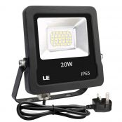 LE 20W Plug in LED Floodlight, Daylight White 5000K, 1600 Lumen Outdoor Security Light, Replace 200W Halogen Light, IP65 Waterproof Garden Light for Garage, Hotel, Yard and More
