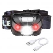 3W LED Headlamp, Rechargeable & Dimmable, White + Red Light, 1200mAh Battery Included