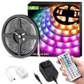 2 Pack Outdoor LED Strips Lights 5M Kit, IP65 Waterproof, Plug and Play, RGB Colour Changing, Dimmable 5050 Light Strip for Garden Party Decoration [Energy Class A+]