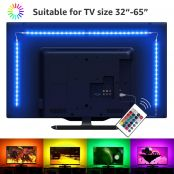 LE 2M LED TV Backlights Kit, USB Light Strip with Remote, 5050 RGB, Colour Changing, Dimmable Bias Lighting for 32 - 65 Inch TV PC Monitor (4 x 50cm LED Strip)