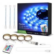 2M RGB LED Strip Light for TV Backlights, USB Plug in, Remote Included