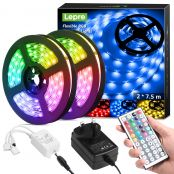 15M LED Strip Lights with Remote, Dimmable, RGB Colour Changing LED Lights for Bedroom, Kitchen, Room Decoration (2 x 7.5 Metres, Plug and Play, Bright 5050 LEDs)