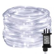LE 10m 100 LED Rope Lights, 8 Modes, Timer, Plug in Indoor Outdoor String Lights, Daylight White, IP65 Waterproof Fairy Lights for Garden, Patio, Deck, Landscape Lighting, Bedroom and More