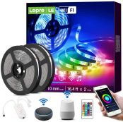 Lepro LED Strip Lights with Remote, Voice Control, Sync with Music, App Control, Compatible with Alexa, Google Home, 10m RGB LED Strip Light, Decoration for House, Wedding Party and More(2.4GHz Only)