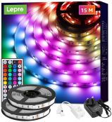 Lepro 15M LED Strip Lights with Remote, 5050 RGB Colour Changing, Plug and Play, Stick-on LED Light for Bedroom, Kitchen, Bar Decoration (2 x 7.5 Metres)