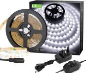 LE 5M Bright White LED Strip Lights, Dimmable, Cool Daylight White 6000K, 1200lm 12V LED Tape Light for Kitchen, Van, Mirror and More, Dimmer Switch and 12V Power Plug Included
