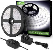 Lighting EVER LED Strip Lights 5M, Dimmable, Daylight White 6000K, Plug and Play, Bright 1200lm LED Tape Light for Kitchen, Living Room, Stairs and More, 12V Power Supply and Dimmer Switch Included