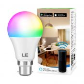 LE WiFi Smart Bulb B22, Works with Alexa, Google Home and IFTTT, Colour Changing, Dimmable LED Bayonet Bulb, No Hub Required (9W = 60W, 850lm, RGB and White 2700K - 6500K)