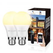 LE LampUX Smart Bayonet Light Bulb B22, Compatible with Alexa and Google Home, Dimmable, No Hub Required, Pack of 2 (9W=60W, Warm White 2700K, 850lm, 2.4GHz WiFi)