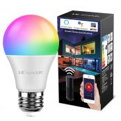 LE LampUX WiFi Smart Bulb E27 RGBW, Compatible with Alexa and Google Home, 60W Equivalent, No Hub Required (9W LED, 850lm, Dimmable, RGB + Warm White)