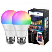 LE LampUX WiFi Smart Bulb E27 RGBW, Compatible with Alexa and Google Home, RGB + Warm White Light, 850lm, 9W=60W, No Hub Required, Pack of 2