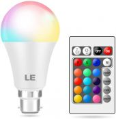 LE Colour Changing Light Bulb B22, Dimmable LED Bayonet Bulb, RGB & Warm White, 16 Colours, 9W = 60W, Coloured Room Decorations for Birthday, Party, Home Bar, KTV and More, Remote Control Included