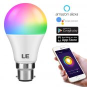 WiFi Smart Light Bulb, 9W RGBW B22 LED Bulb, Dimmable, Colour Changing, Time Schedule, No Hub Required, Work with Alexa, Google Assistant and IFTTT