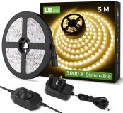 Lighting EVER 5M Dimmable LED Strip Lights, 3000K Warm White, Plug and Play, Stick-on LED Light for Bedroom, Kitchen, Hallway and More, 12V Power Supply and Dimmer Switch Included