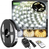Lepro 5M LED Strip Lights, Warm White to Cool Daylight, Dimmable and Tunable with Remote, Stick-on LED Light for Desk, Mirror, Wall, Ceiling and More (3000K to 6500K Adjustable)