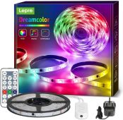 Lepro 5M Dreamcolor LED Strip Lights with Remote, Music Sync, RGBIC Rainbow Colour Changing, IP65 Waterproof LED Rope Light for Bedroom, Home Party, Gaming Room Decoration (5M, Stick-on, Plug-n-Play)