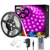 2 Pack 5M RGB LED Strips Lights Kit, 150 SMD 5050 LED Tape, Colour Changing Mood Lighting, Dimmable, Power Supply and Remote Controller Included