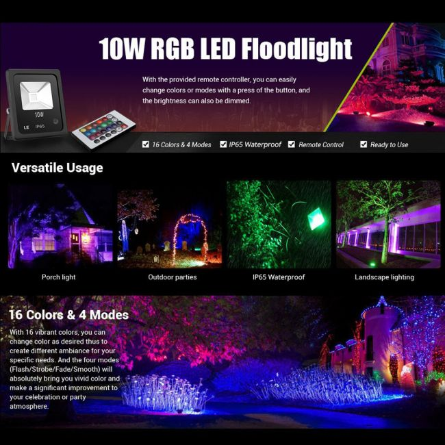 Le 10w Rgb Flood Light Colour Changing Led Garden Light With Remote Control Dimmable Outdoor Lighting Waterproof 16 Colours And 4 Modes Floodlight