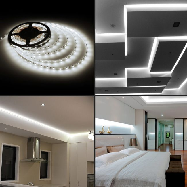 Le 5m Led Strips Lights Kit Dimmable 1200lm Daylight White 6000k Plug And Play Led Tape Light For Home Kitchen Bedroom And More 12v Power Supply