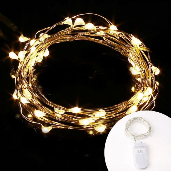 Lighting Ever Le 1m Tiny Fairy String Lights 20 Led Battery Powered Ip65 Waterproof Copper Wire Warm White Centrepiece For Wedding Party Room