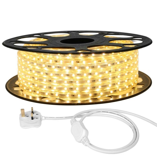 Le 15m Plug In Led Strip Warm White 900 Smd 3528 Leds Ip65 Outdoor Rope Light 220v 240v Ac Mains Powered Fixing Clips Included