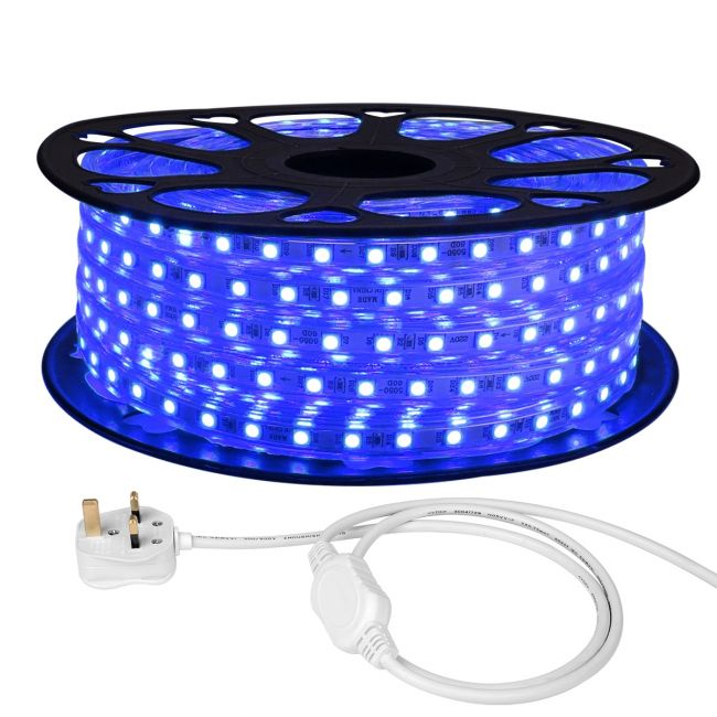 Le 20m Mains Led Strip Blue 1200 Smd 5050 Leds Ip65 Waterproof Outdoor Rope Light Uk Plug And Fixing Clips Included