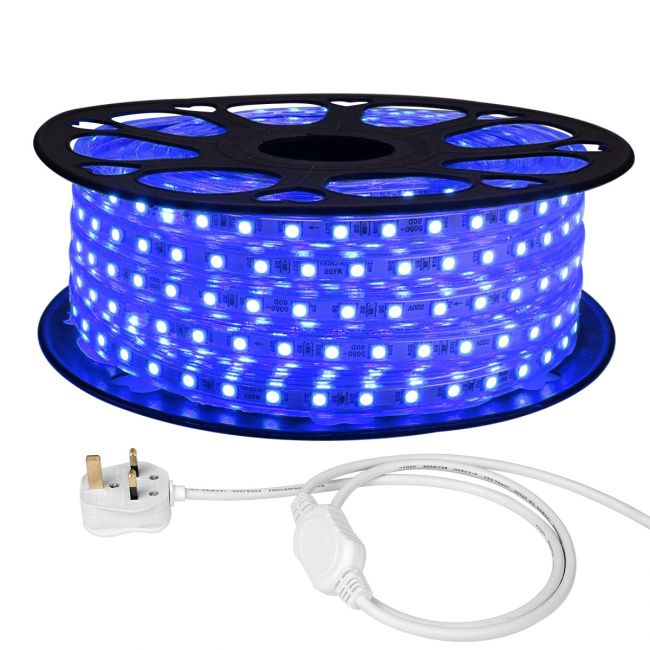 online retailer 13b18 2211b LE 25M Mains LED Strip, Blue, 1500 SMD 5050 LEDs, IP65 Waterproof, Outdoor  Rope Light, UK Plug and Fixing Clips Included
