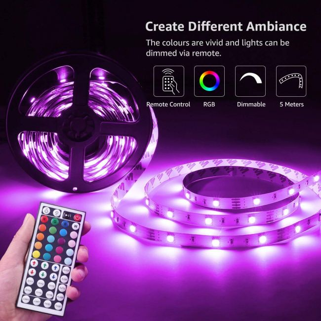 5M RGB LED Strips Lights Kit, Remote and Power Adapter Included - Lepro
