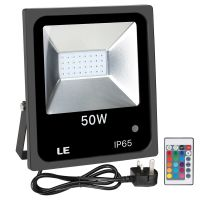 LE 50W RGB Flood Light, Colour Changing LED Garden Light with Remote Control, Dimmable Outdoor Lighting, Waterproof 16 Colours and 4 Modes Floodlight with UK Plug