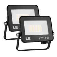 LE 15W Led Floodlight Outdoor, 1500 Lumen LED Security Lights, 100W Incandescent Lamp Equivalent, Waterproof IP65, Daylight White Outdoor Lights for Doorways, Garden, Garages and More, Pack of 2 [Energy Class A++]