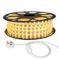 20M LED Strip Light, 220V-240V LED Tape Light, Super Bright 5050 SMD LEDs, Warm White, IP65 Waterproof Outdoor Decorative Lighting Strings