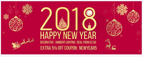2018 New Year Lighting Sale! Up to 80% off and extra 5% off coupon webside.
